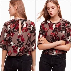 WILFRED Cambrai Mocha 1/2 Sleeve Cropped Blouse